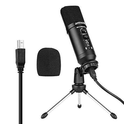ammoon Micrófono de Condensador USB, para Conferencia/Video/Karaoke/Vlog/Youtube/TikTok, Trípode de Escritorio de Metal, Parabrisas(Flathead)