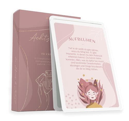 40 Achtsamkeitskarten von Lebenskompass® - Anti Stress Achtsamkeit Karten - Affirmationen, Übungen, Glückskarten & Sprüche Kärtchen - Mitbringsel Geschenkidee/Kleines...