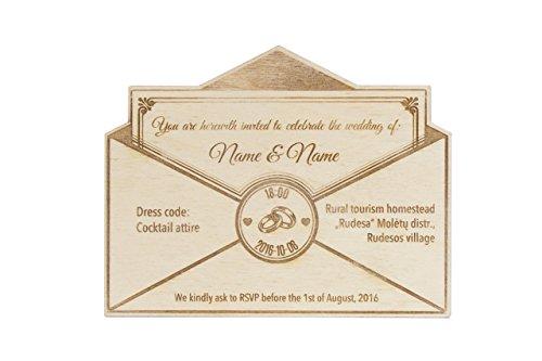 Rustikale Hochzeitseinladungen 20 Stück – individuelle gravierte Hochzeitseinladungen – individuelle hölzerne Einladungen – Einladungen im Form vom Briefumschlägen – Hochzeits-Dekor