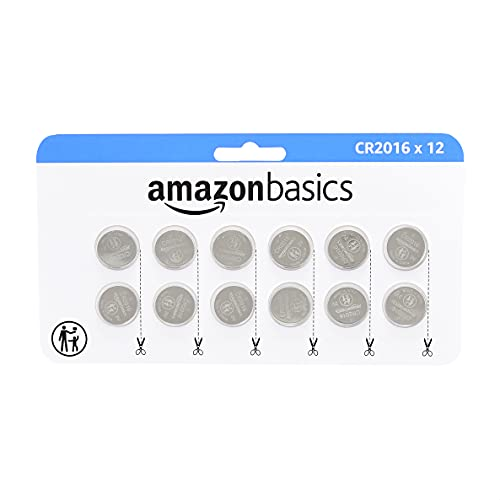 Amazon Basics 12 Pack CR2016 3 Volt Lithium Coin Cell Battery, Long Lasting Power in Child Resistant Packaging