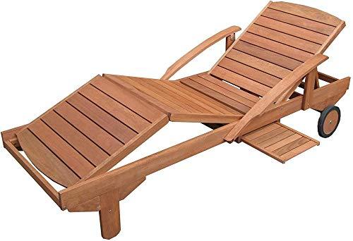 Ldoons Gartenliege, rollbare Sonnenliege mit Verstellbarer Rückenlehne und ausziehbarer Ablage, für Garten und Terasse