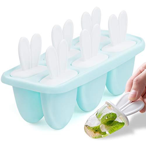 Zaloife Eisformen EIS am Stiel Formen, 6 Eisform DIY Ice Pop, Lolly Popsicle Eisförmchen, Wiederverwendbar Popsicle Formen Set, LFGB Geprüft und BPA Frei, Mini Eisform für Kinder, Baby (Blau)