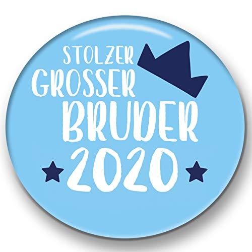Polarkind grosser Button Pin Anstecker Großer Bruder 2020 (59mm) blau Handmade Geschenk zur Geburt Taufe Babyparty