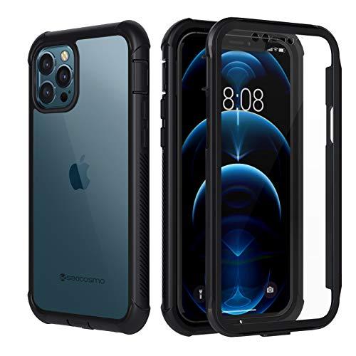 seacosmo Funda para iPhone 12 Pro MAX, Carcasa Protectora de Cuerpo Completo con Protector de Pantalla Parachoques Transparente Funda Antigolpes 360 ° para iPhone 12 Pro MAX 6.7''- Negro