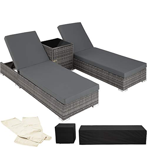 TecTake 2x Aluminium Rattan day bed + table set sun +2sets for exchanging upholstery + protection slipcover Grey (No. 403088)