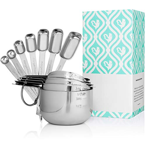 Stainless Steel Measuring Cups and Spoons: Durable, Elegant All-in-One Kitchen Measuring Set for Dry and Liquid Ingredients - Features 7...