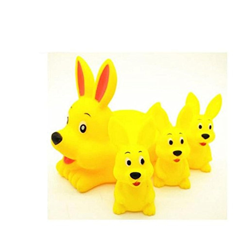 HuaQingPiJu-JP 4個の子供のかわいい漫画ウサギのバスタブバスのおもちゃの水のおもちゃのセットのセット