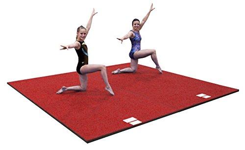 "10'x10'x1 3/8"" Dollamur FLEXI-Roll® FLEXI-Connect® Cheer Gymnastics Mat Red"