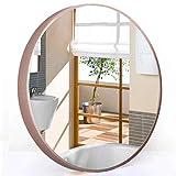 espejo de pared redondo decorativo entero barato Espejo Redondo Oro rosa Nuevo Espejo de marco de metal industrial Espejo de vanidad nórdico Espejo de seguridad a prueba de explosiones, para cuarto