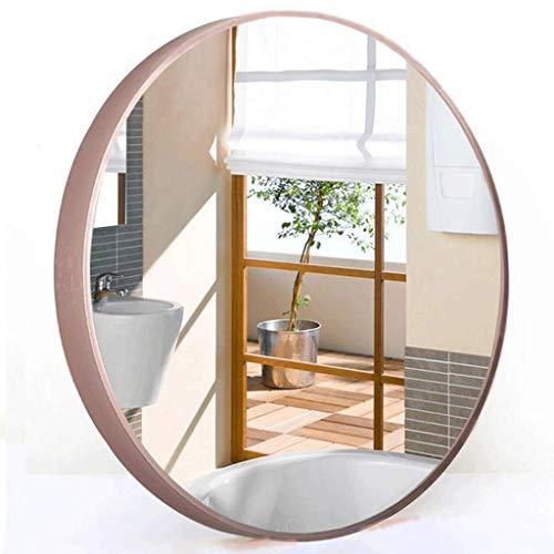 WWSHM Espejo Redondo Oro Rosa Nuevo Espejo de Marco de Metal Industrial Espejo de vanidad nórdico Espejo de Seguridad a Prueba de explosiones, para Cuarto de baño Dormitorio Sala de Estar