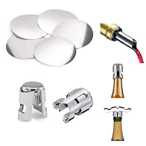 xutong Versatore a Disco salvagoccia per Bottiglie in Alluminio 50PCS -2 Pezzi Acciaio Inossidabile Tappo di Champagne e Vino Spumante