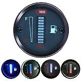 Qiilu Indicatore del livello del carburante, 52mm Dia 12V Indicatore del misuratore del carburante a LED universale Indicatore di resistenza regolabile per auto Motocicletta Camion RV
