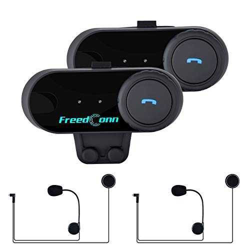 FreedConn Motorcycle Intercom Headset Sistemas de intercomunicación inalámbricos Handfree Auriculares Bluetooth Interphone para Walkie Talkie 800m, GPS, Radio FM (2 Paquetes con micrófono Duro)