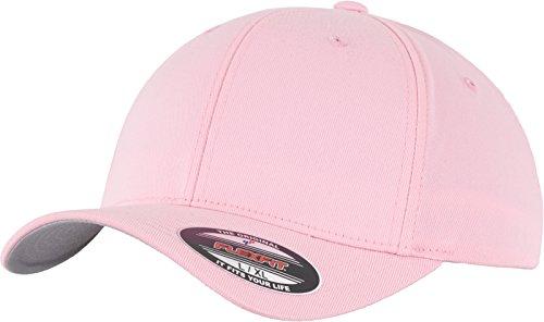 Flexfit Unisex Baseball Cap Wooly Combed, Kappe ohne Verschluss für Herren, Damen und Kinder, Farbe pink, Größe S/M