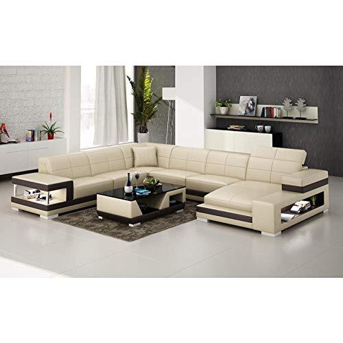 Winpavo Sofas & Couches Sofa Ecksofa Set Italienischer Stil Couch Wohnzimmer Leder Ecksofa-C