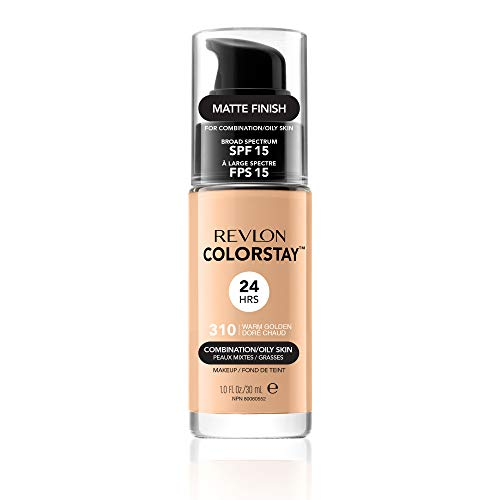 Revlon Colorstay 24H, Base de maquillaje para rostro, para cutis mixto/graso, con dosificador, color Beige (310 Warm Golden), 30ml