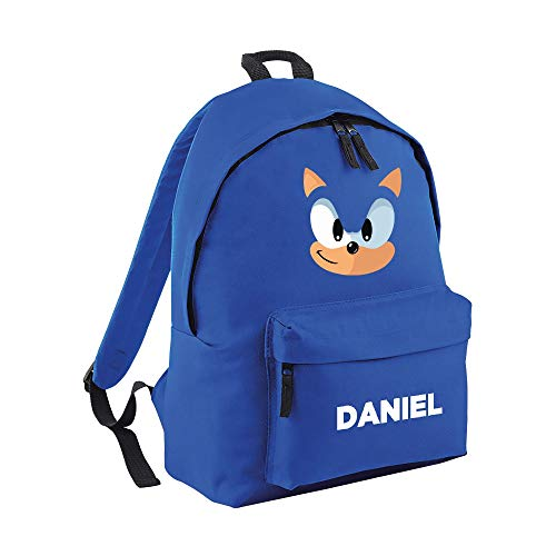 Blue Hedgehog Personalised/Plain Backpack- Presents Gifts Gaming Films Character Quality Product Stitching Padded Shoulder Straps Tension Resistant 100% Polyester (Personalised)