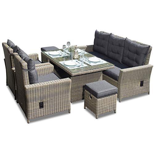 Green Spirit - Garten Sitzgruppe Asti - Braun, Polyrattan, für 7 Personen, Sicherheitsglas, Wetterfest, Gartenmöbel-Set mit Sofa, Tisch, 2 Sessel, 2 Hocker