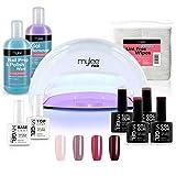 Mylee - Kit Manucure Gel Semi-Permanent, 4x Couleur MYGEL, Base et Top Coat, Lampe à Polymérisation Convexe de la série Mylee PRO Salon (Blanc)