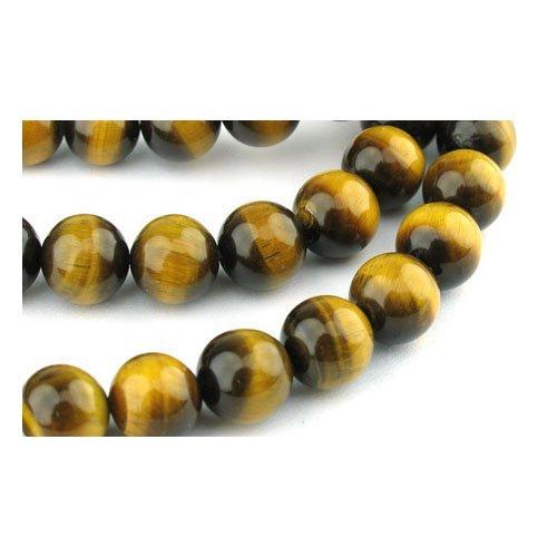 Filo 45+ Giallo/Marrone Occhio Tigre 8mm Tondo Perline GS0373-3 (Charming Beads)