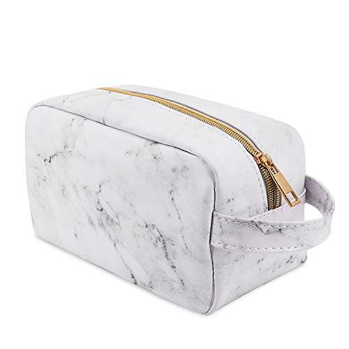 BOJLY Marmor Make-up Tasche, Reise Kulturbeutel für Männer und Frauen, Kosmetiktasche Make-up Tasche Multifunktionale Faltbare wasserdichte PU Leder Aufbewahrungskoffer mit Griff