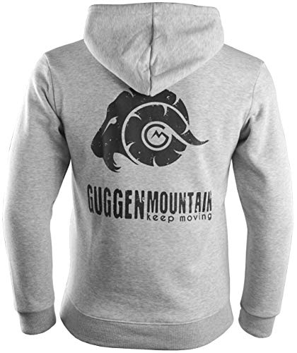 GUGGEN Mountain Herren Kapuzenpullover mit Fleece Hoodie Hooded Logo Sweater Sweatjacke Warmer Pullover Streetwear Langarm Kapuze Outdoor Sport Hellgrau S