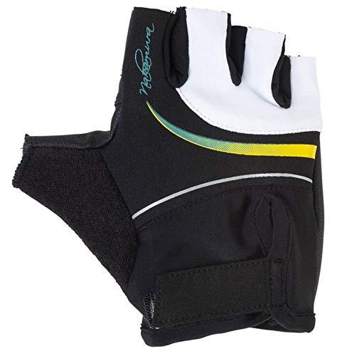 Nakamura Damen Fahrrad-Bike-Handschuhe Dogana schwarz Weiss gelb, Größe:L