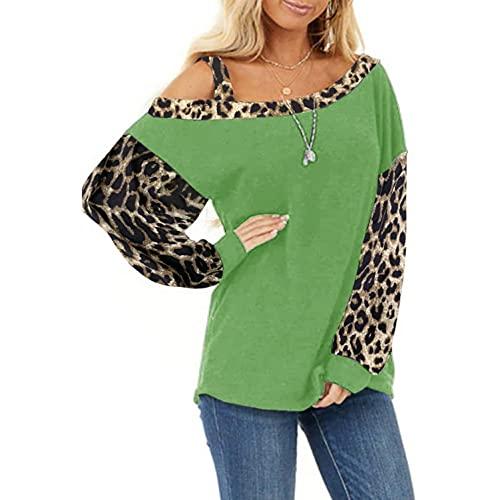 XUNN Maglia da donna a maniche lunghe, alla moda, con motivo leopardato, sexy, casual, con maniche lunghe, verde, M
