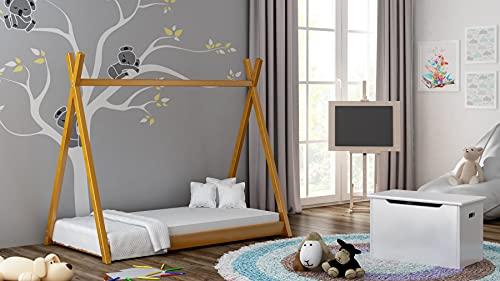 Children's Beds Home Cama Individual con Dosel de Madera Maciza - Estilo Titus Tepee para niños Niños Junior con Espuma - Colchón de Coco (160x80, Aliso)