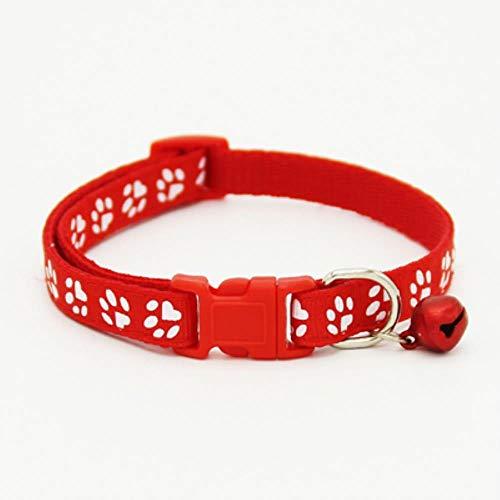 FANJIA Collar De Perro Imprimir Paw Collar para Perros Y Gatos Moda Seguridad Hebilla De Plástico Nylon Collar para Perros Pequeños Lindo Cachorro Collar para Mascotas 6 Colores, Rojo, S