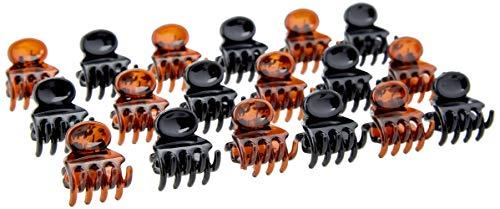 Glamour Style Lot De 18 Mini Pinces À Cheveux 1, 5cm Noir Et Marron