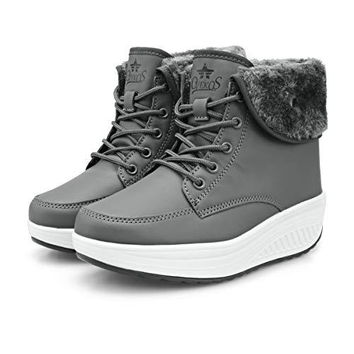 Botines Invierno Mujer Botas de Mujer Cordones Zapatos para Caminar Forrados de Piel Sintética(42 EU,Gris Oscuro