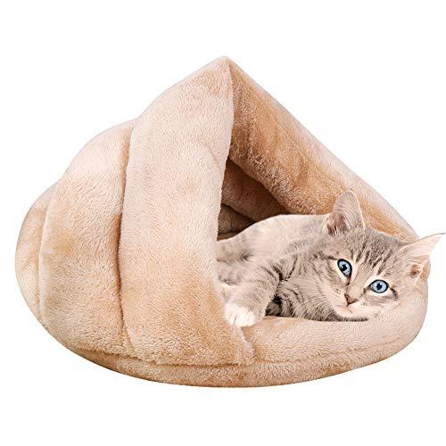 Vejaoo Saco de Dormir Cálido Cuevas casa Sleeping Bed Noble Cama para Perros y Gatos Puppy Conejo Mascota XZ001 (S: 50 * 37 * 29cm, Apricot)
