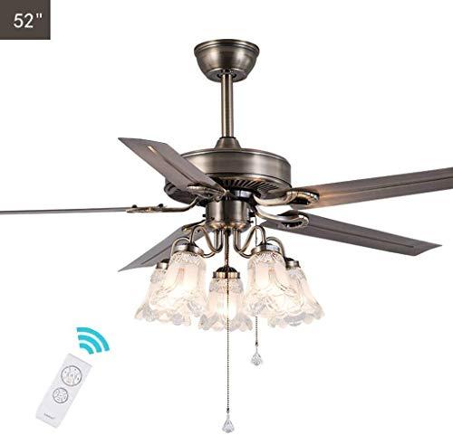 """DAGCOT 52\"""" Deckenventilator, amerikanische landwirtschaftliche Retro Bronze Deckenventilator, for Restaurant Wohnzimmer E27 Fan-Lampe, mit 5 Wendemesser, Fernwartung (Color : Remotecontrol)"""
