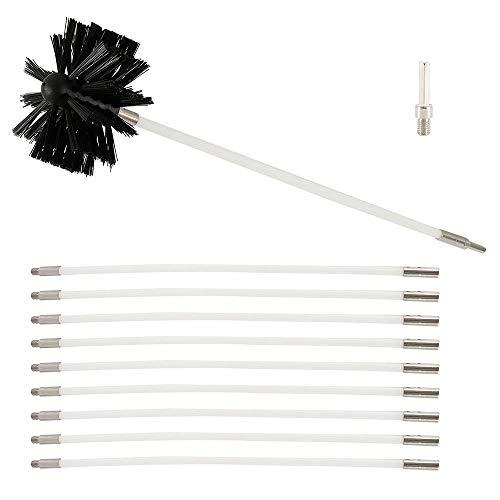 Kit de brosse de nettoyage pour cheminée, évent de séchage, kit de nettoyage pour conduit de cheminée, tiges en nylon souple, têtes de brosse synthétique avec 9 tiges flexibles et 1 tête de brosse