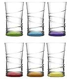Lav 6 teiliges Wassergläser Saftgläser Trinkgläser Getränkegläser Coral 350 ml - Spülmaschinengeeignet - Bunt