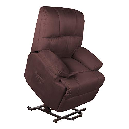 MACOShopde by MACO Möbel Fernsehsessel mit elektrischer Aufstehhilfe und Fernbedienung mit 2 Motoren, Relaxsessel/TV-Sessel aus Mikrofaser, braun