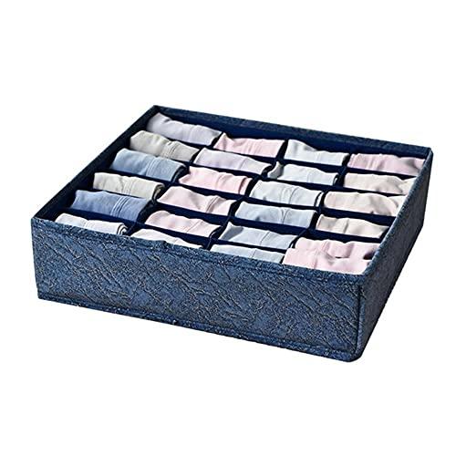 Organizador de armario de dormitorio para calcetines Organizador de ropa interior Caja de almacenamiento Sujetador Organizador de cajones plegables Divisor Cajas de distribución-Azul-24 Rejillas
