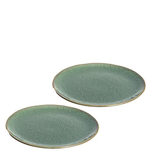 Leonardo Matera Keramik-Teller 2-er Set, spülmaschinengeeignete Speise-Teller, Essteller mit Glasur, 2 runde Steingut-Teller, Ø 27 cm grün, 026988