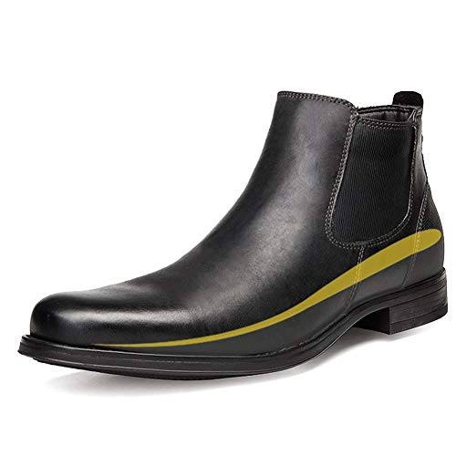 DIBAO Chelsea - Botas de tobillo para hombre, de piel auténtica, con cremallera en la posición del talón (forro polar y discreta más alta opcional) (color: negro (alto), tamaño: 45 UE)