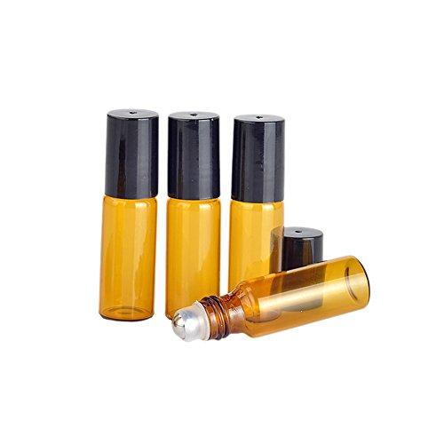 Lot de 20 mini flacons vides en verre ambré avec système bille en métal pour huiles essentielles, produits de beauté, parfum, baume à lèvres, Verre, 5ml