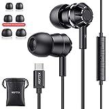 AGPTEK Auriculares USB Tipo C In-Ear Sonido Estéreo con Micrófono y Control de Volumen, Compatible con iPad Pro, Huawei P30/P20/Mate20, Xiaomi Mi 5/6/8/9, Negro