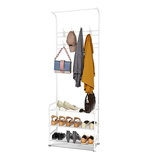 alvorog Coat Rack Stand with Removable 16 Hooks and 3-Tier Shoe Stand