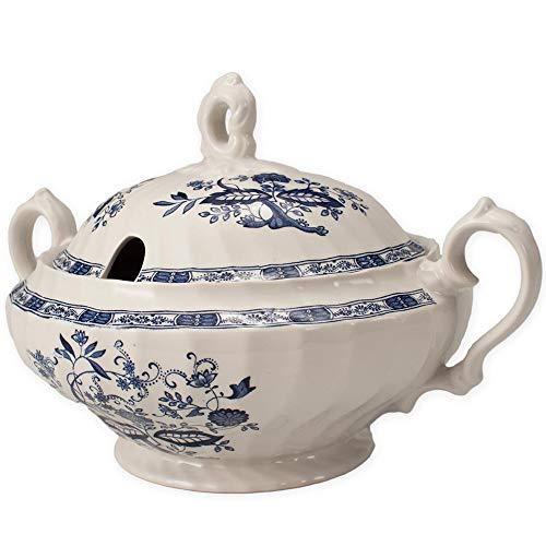 FranquiHOgar Sopera de Porcelana con Tapa, Bowl para sopas Clásica