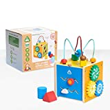 Early Learning Centre Mini Wooden Activity Cube, Fine Motor Skills, Hand Eye Coordination, Problem Solving, Toys for Ages 18-36 Months, Amazon Exclusive, by Just Play