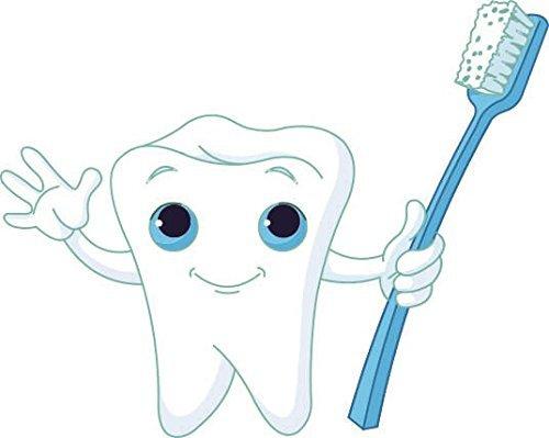 U24 Aufkleber Zahn mit Zahnbürste Autoaufkleber Sticker