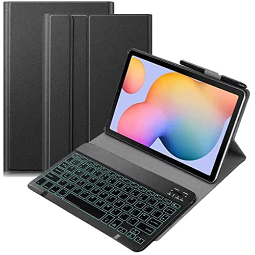 LGQ Custodia per Tastiera Retroilluminata per Samsung Galaxy Tab S6 Lite 10.4' 2020 SM-P610/P615 Stand Ultrasottile in PU, Custodia per Tastiera Retroilluminata Wireless, Supporto per Penna S,Nero