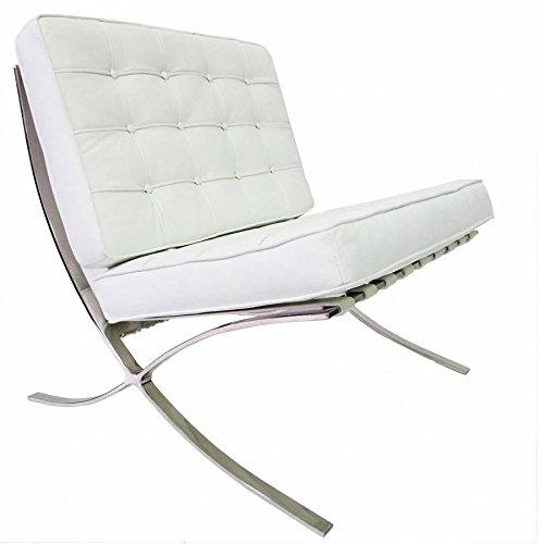 Furnwise Barcelona - Sedia in pelle di prima qualità, ispirata a Mies van der Rohe, colore: Bianco