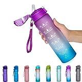 NOOFORMER 24oz / 32oz Motivational Water Bottle with Time Marker & Straw- Water Tracker Bottle...