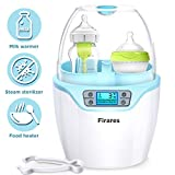 Firares Upgrade Quicker Steam Heating Baby Bottle Warmer and Bottle Sterilizer, Accurate Temperature Control Universal Bottle Warmer for Breast Milk, 6-in-1 Baby Food Defrost Heater with LCD Display